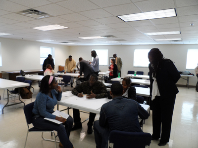 Workforce Readiness Training class participants collaborate on a business plan